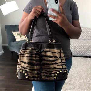 Moschino Cheap & Chic Studded Animal Print Handbag